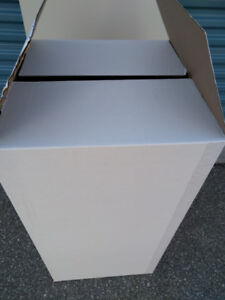 Moving Boxes-New white in/out 17x18x33, brown 12x18x6, 28x12x6