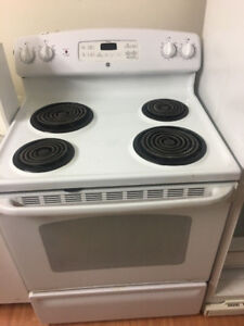 """GE white 30"""" freestanding electric coil stove range oven"""