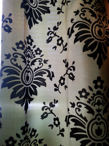 Faux silk green and black detail curtains