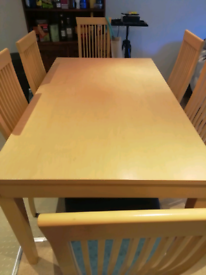 Pine wood Dining table with 6 chairs