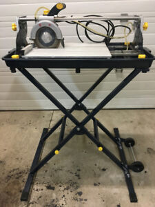 "Mastercraft 7"" dia sliding wet tile saw with stand"