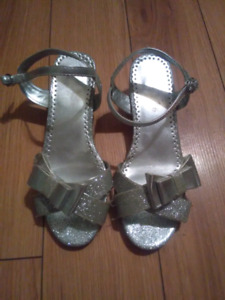 Girls silver sparkly heels size 2