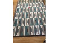 IKEA grey and teal rug excellent condition