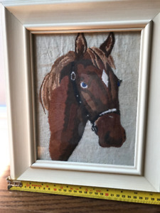 Framed embroidered horse  art