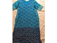Asian outfit turquoise and navy blue