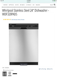 Brand New Stainless Steel Whirlpool Dishwasher