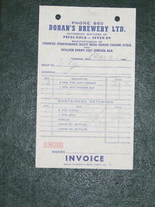 Vintage Doran's Brewery invoice from 1955
