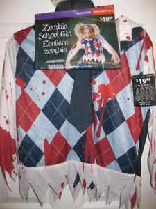 BNWT- Zombie School Girl with Wig Costume