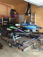 Snowmobile trailer combo