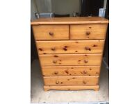 Solid pine chest of drawers. Free delivery
