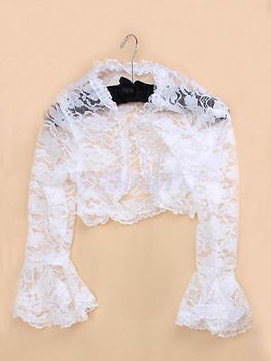 White Floral Lace Ruffle Collar Bell Sleeve Shrug Bolero Jacket Cardigan Top