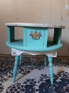 Antique Solid Wood Accent Table Chalk Painted W Gold Leaf Design