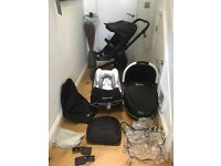 Quinny buzz rocking black with black frame full travel system. Everything