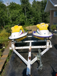Pair of Seadoo's on Double Trailer