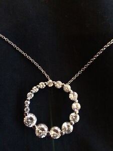 Authentic Sterling Silver Circle Pendant (CZ) with Chain