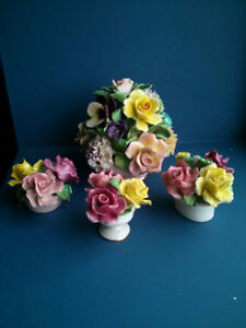 VINTAGE BONE CHINA FLOWER'S BASKETS FIGURINE LOT