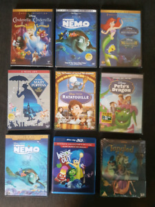 Disney movies blu ray and DVDs.