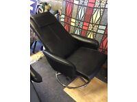 2 x Black swivel/recliner chairs