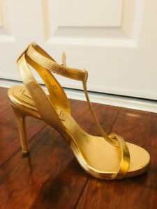 BCBG Gold Strappy Sandals