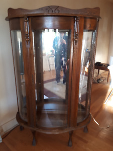 Vintage Bowed Glass China Cabinet