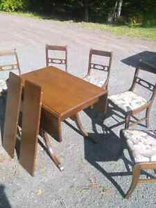 Duncan Phyfe drop-leaf table and matching china cabinet