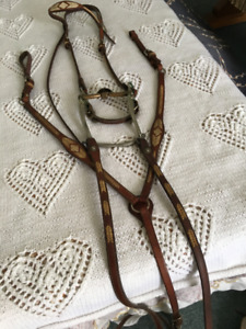 Western horse bridle breast collar and reins set +Western pad