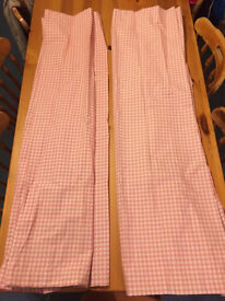 Pink gingham blackout curtains 66x54