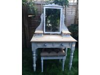 Shabby chic dressing table painted in Annie Sloan with stool