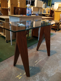 Ex Display Glass TOP WITH MAHOGANY LEGS TALL TABLE / DISPLAY TABLE (Was £399)
