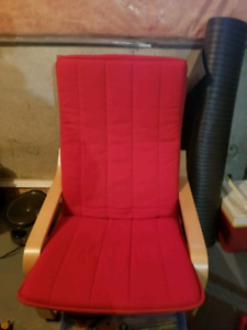 IKEA chair 2 red cushions