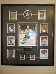 Framed Autographed Mats Sundin picture with cards puck and pins