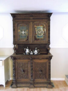 Must See !!!  Antique Hand Carved Belgium Hutch and Sideboard !!