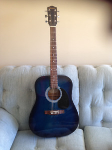 Beautiful steel string acoustic  blue guitar