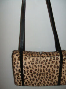 REAL STENCILLED LEOPARD LOOK FUR BOX PURSE USED SLIGHTLY