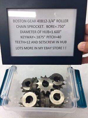 Boston Gear Steel Sprocket 40b12- 34 Bore Clock Telescope Lathe Hobby