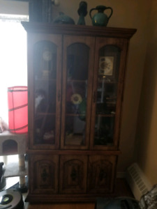 Must read all of ad. 1 piece cabinet with inside light 6 ft