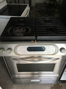 "Kitchen aid slide in 30"" gas stove range convection fan oven"