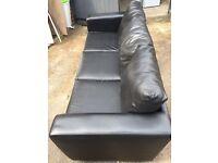Black 3 Seater Faux Leather Sofa