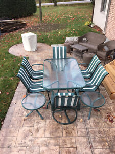 Patio Set With 6 Chairs And End Tables $200.00 (or best offer)