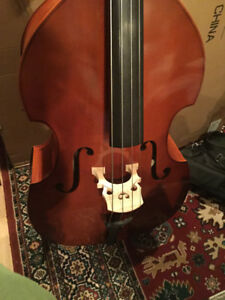 New, ¾ double bass, sold with case and bow