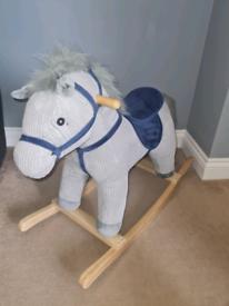 Stylish grey and navy rocking horse