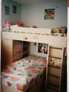 Wood Finish BUNKBED Set with DESK and Ample STORAGE Attached!