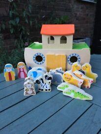 Wooden Noah's Ark & figures, children's