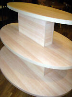 3 Tier Oval Display Table- Maple