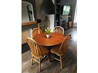 Solid wood Upcycled round dining table and chairs