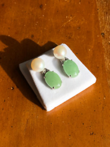Jade, Pearl, and Diamond Earrings in 14kt White Gold