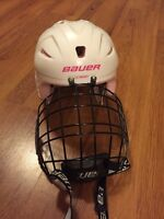 Pink and White Girl's Bauer Hockey Helmet Size 6 - 6 3/4