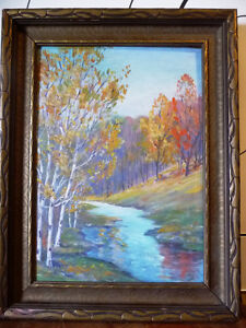 "Colorful Original Oil Study ""October Storm"" by M. Rowntree"