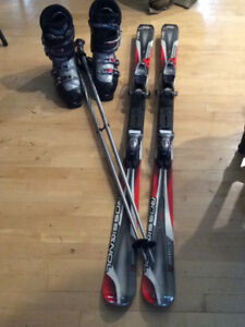 Mens Downhill Skis, boots, and poles