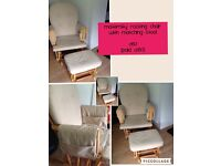 Maternity glider chair with matching stool